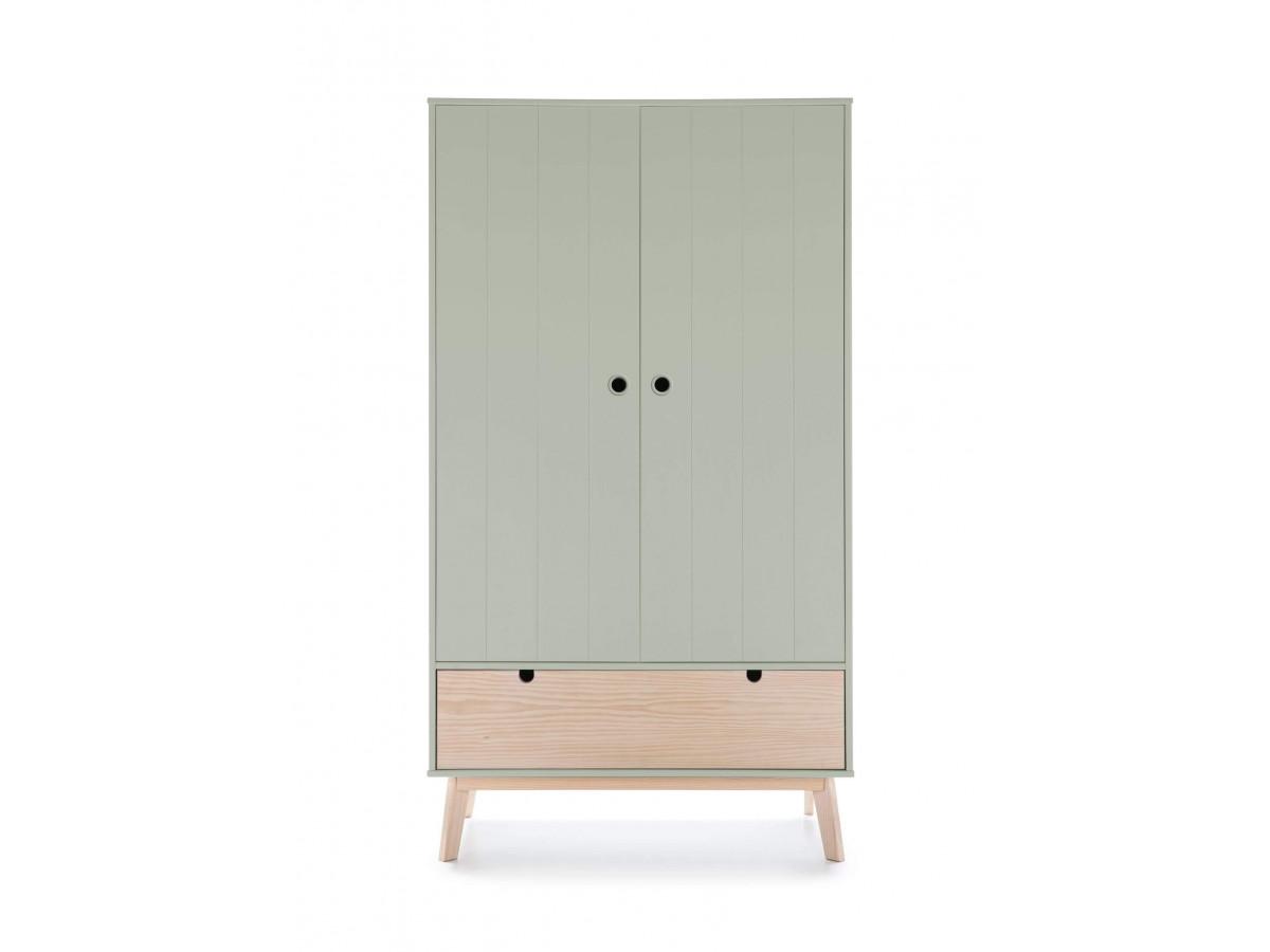 Armoire YUGO Vert grisé / bois clair