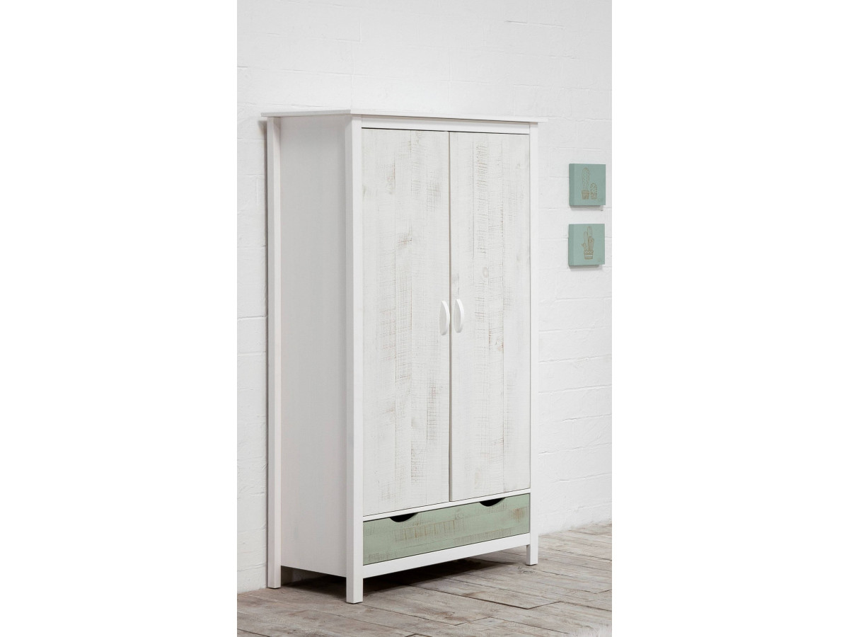 Armoire PETRA Blanc / vert grisé