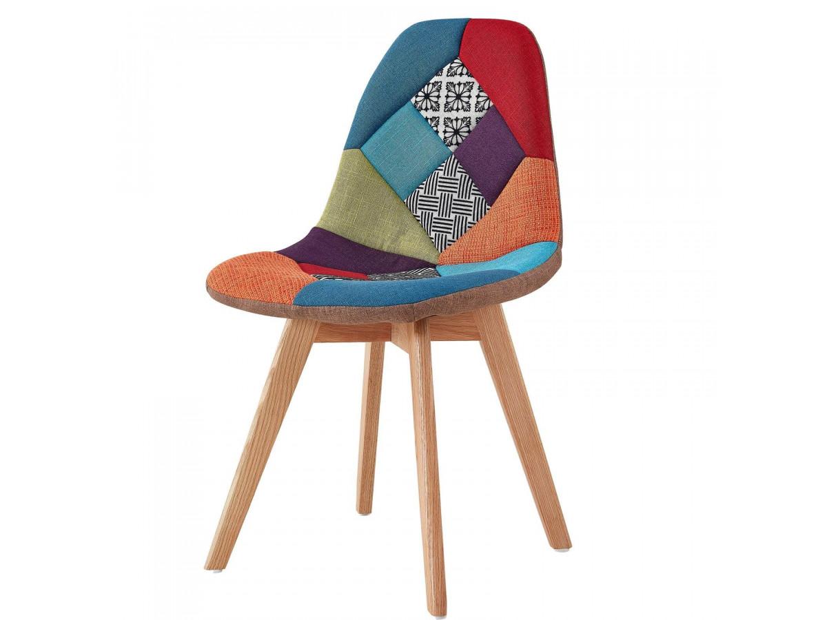 Chaise en tissu patchwork multicolore n°2 MARIUS