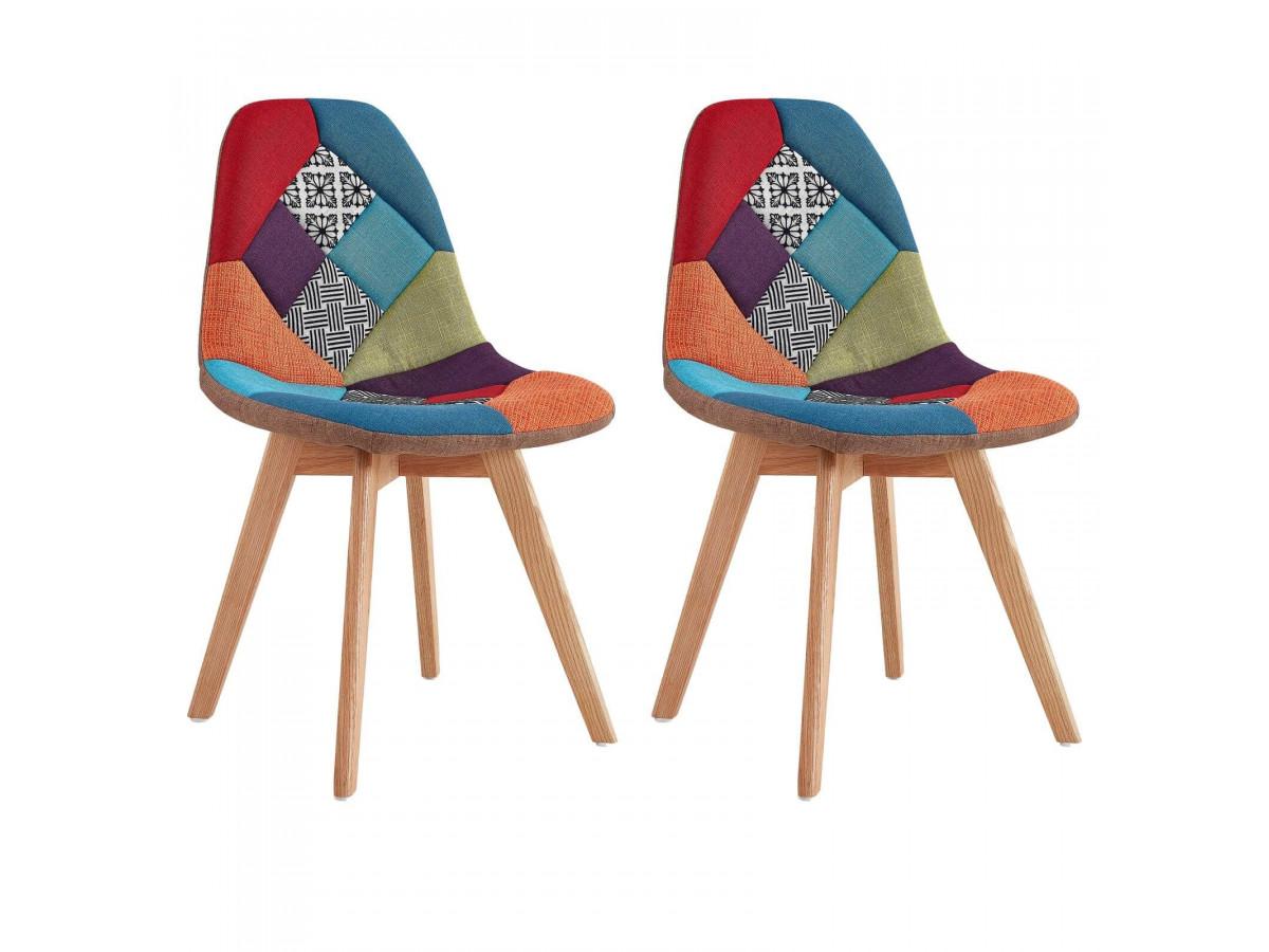 Lot de 2 chaises en tissu patchwork multicolore n°2 MARIUS