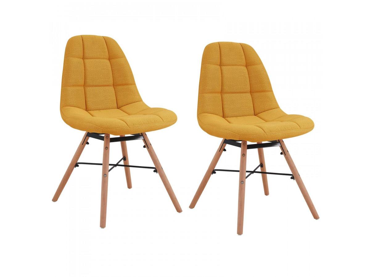 Lot de 2 chaises en tissu jaune MARIUS bois et métal noir