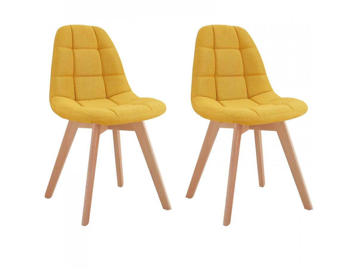 Lot de 2 chaises en tissu jaune MARIUS