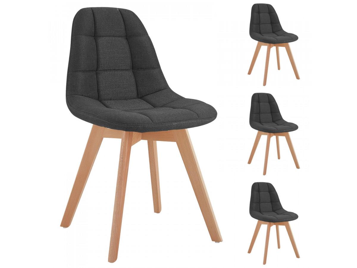 Lot de 4 chaises en tissu anthracite MARIUS