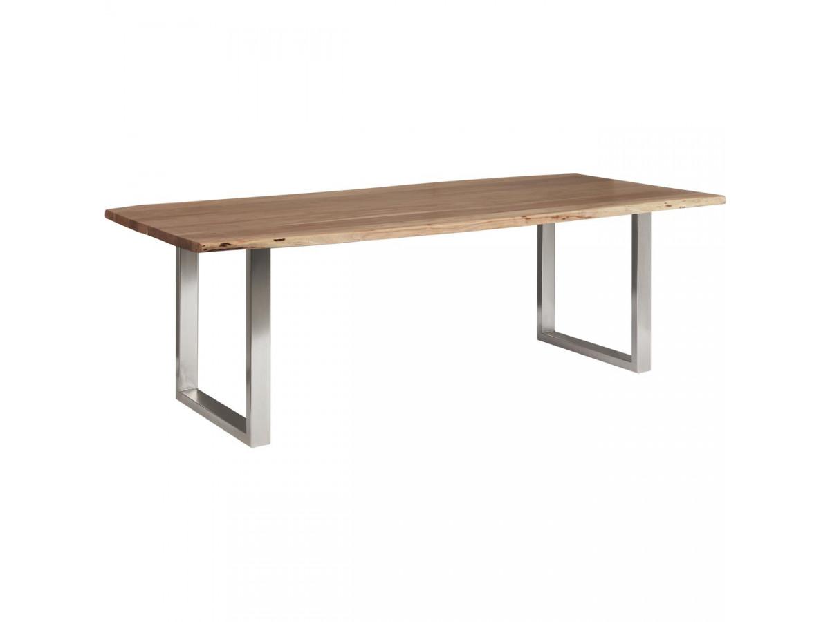 Table de repas 8-10 personnes AWA pieds carres en metal chrome