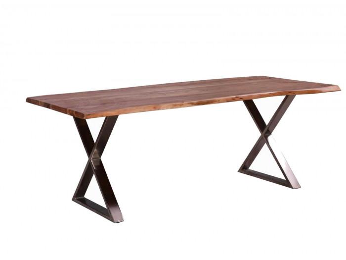 Table 240 cm AWA Bois acacia massif et Pieds en croix métal chromé