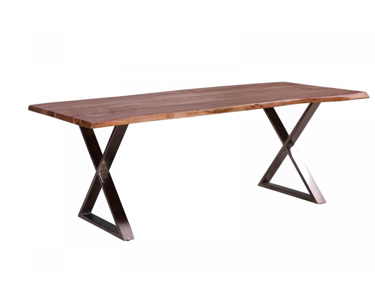 Table de repas 10-12 personnes AWA pieds en croix en metal chrome