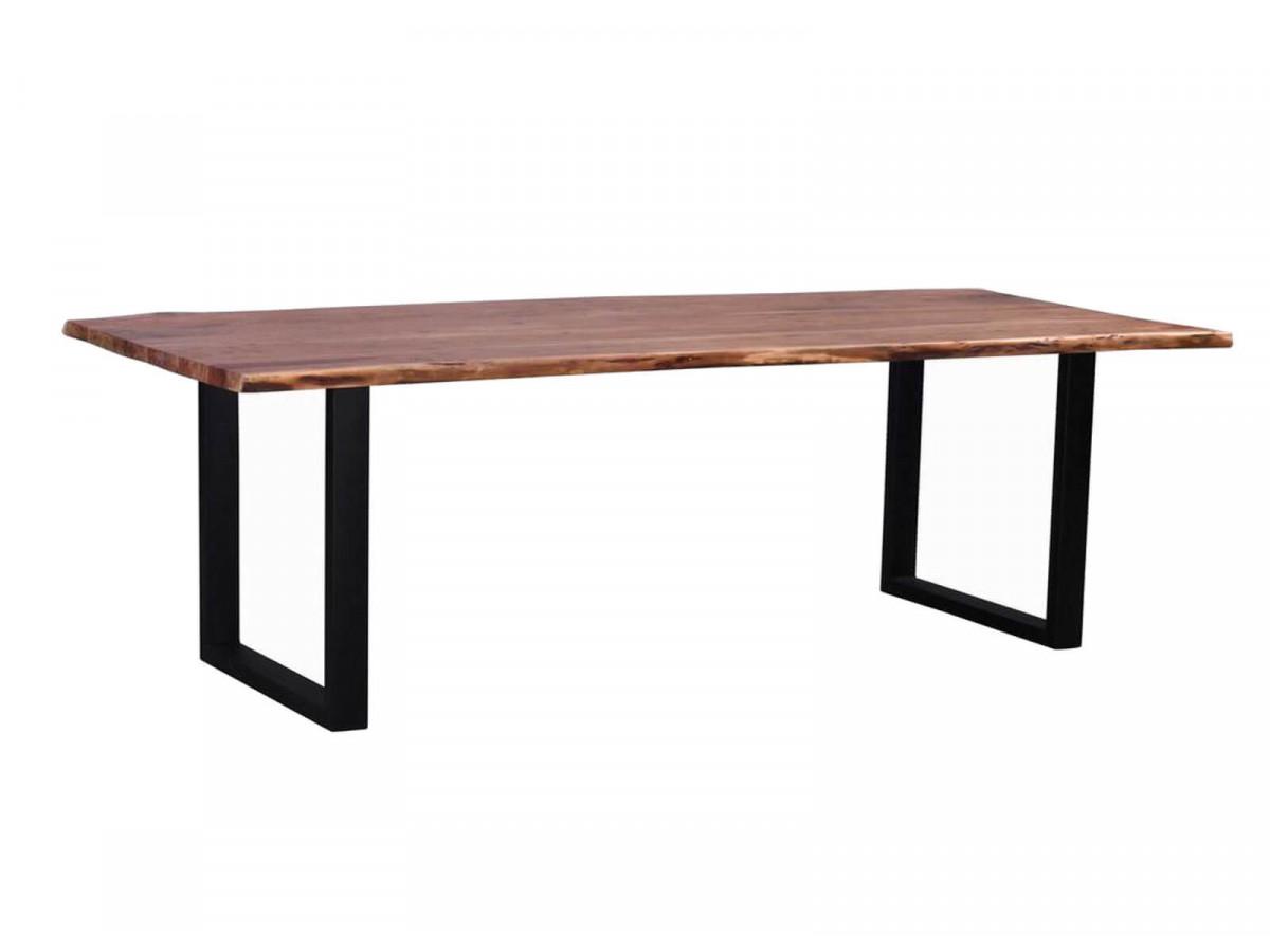 Table de repas 7-7 personnes AWA pieds carres en metal noir