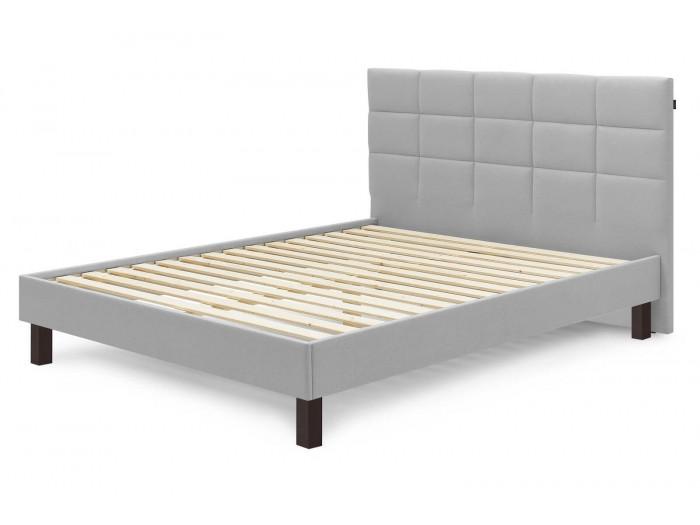 Structure de lit CARRE avec lattes massives pieds carrés bois wengé 140x190