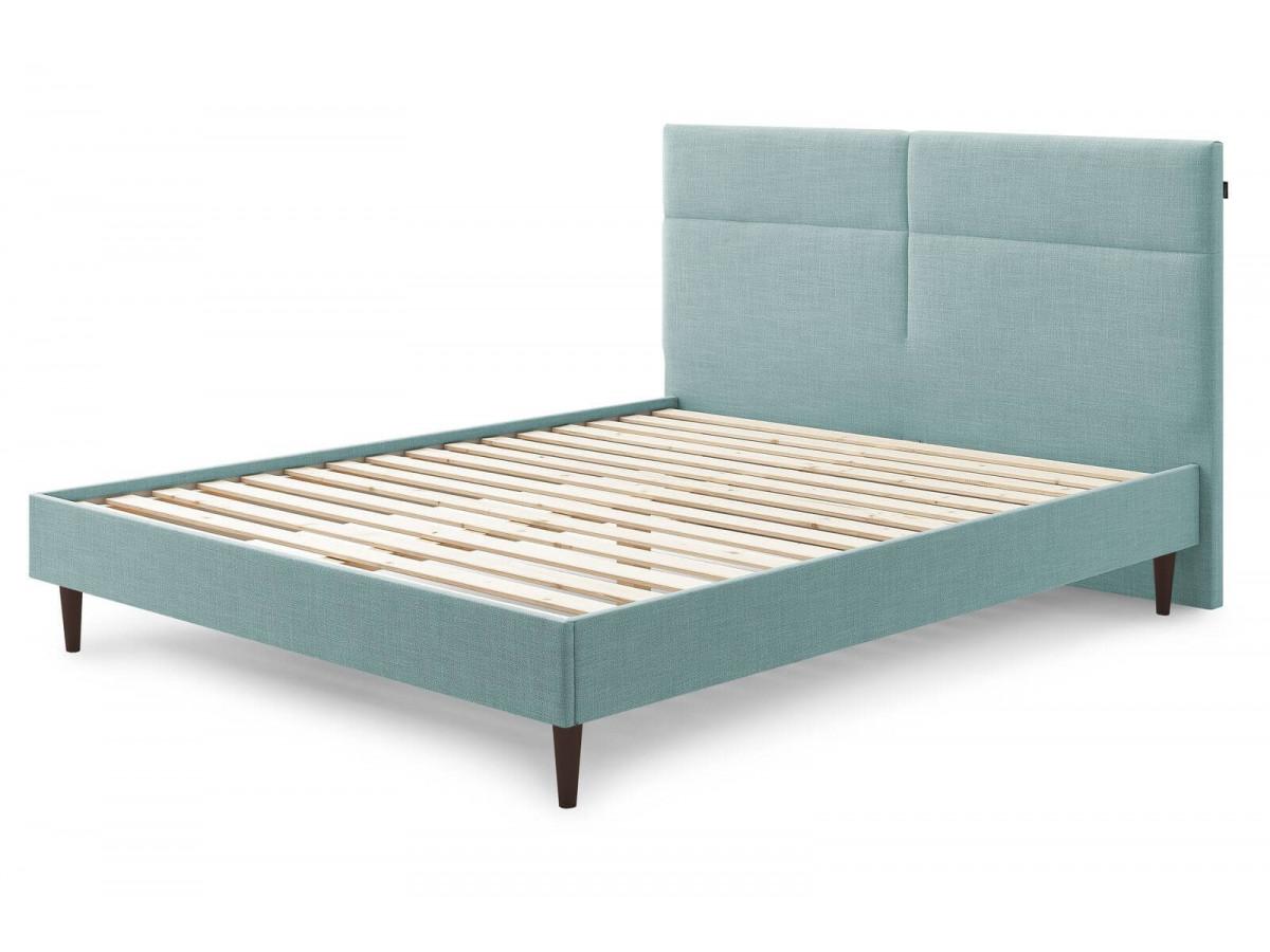 Structure de lit ELYNA avec lattes massives pieds en bois wengé 160 x 200 cm