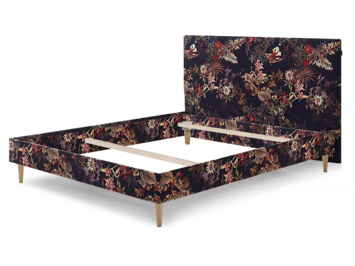 Structure de lit ADELAÏDE avec pieds en bois naturel 140 x 190 cm