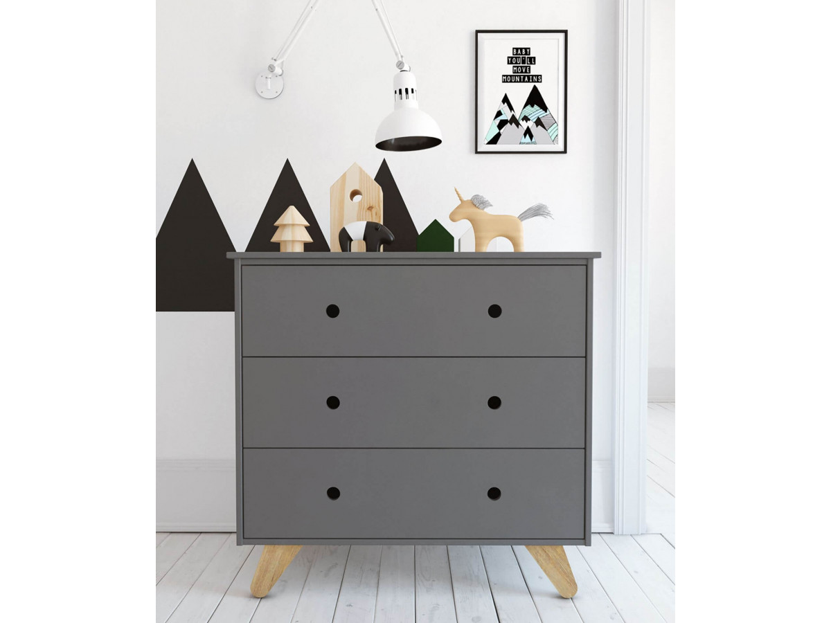 Commode 3 tiroirs INAPE Gris