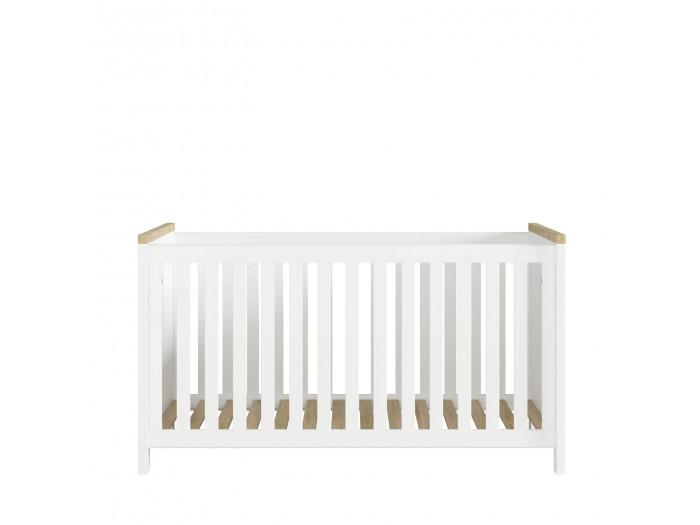 Lit bébé 70x140 cm YORGA Blanc mat et Bois