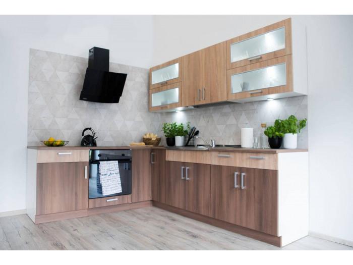 Cuisine d'angle complète TELIO 210x250 cm Chêne Sonoma et Acacia foncé