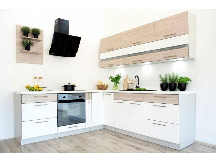 Cuisine d'angle complète MORENA 225x230 cm Chêne clair et Blanc Acrylique