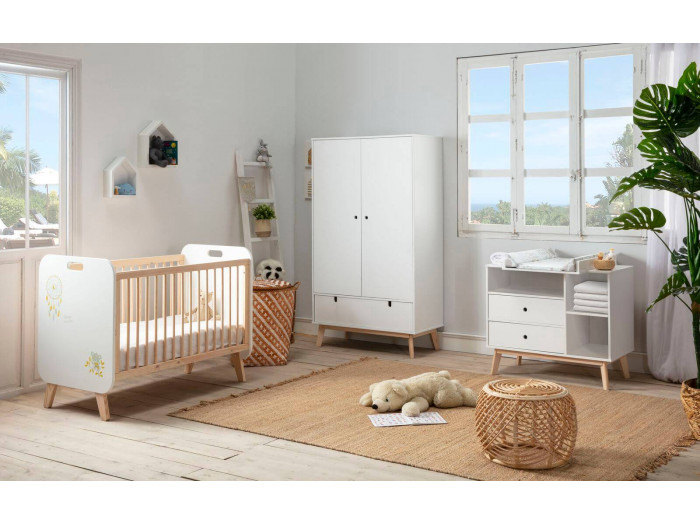 Lit bébé YORGA 60x120 cm Blanc avec sérigraphie