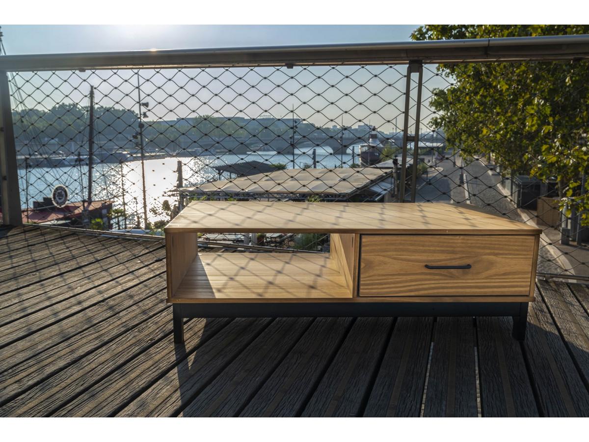 Table basse AUSTIN noir / bois clair