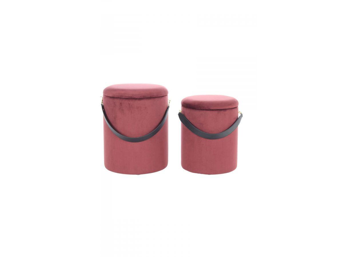 Lot de 2 poufs ZEMA Marron rouge / noir