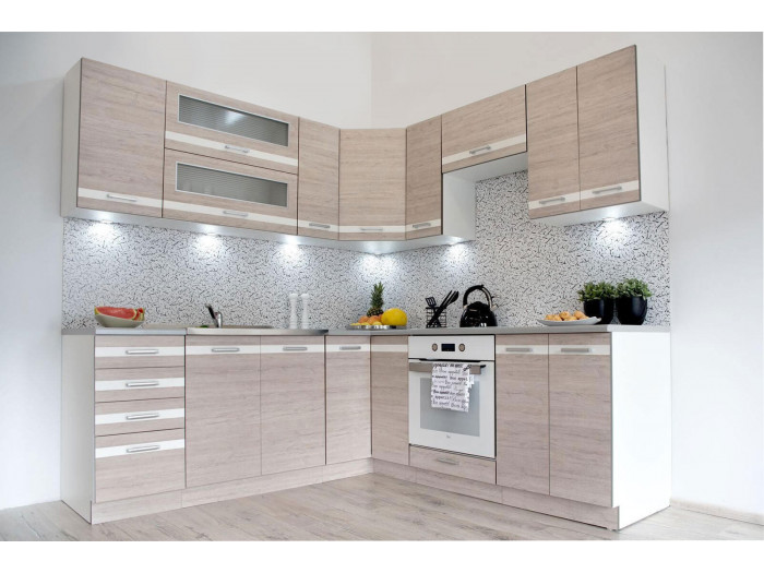 Cuisine d'angle complète PARKO 210x210 cm Chêne clair et Blanc