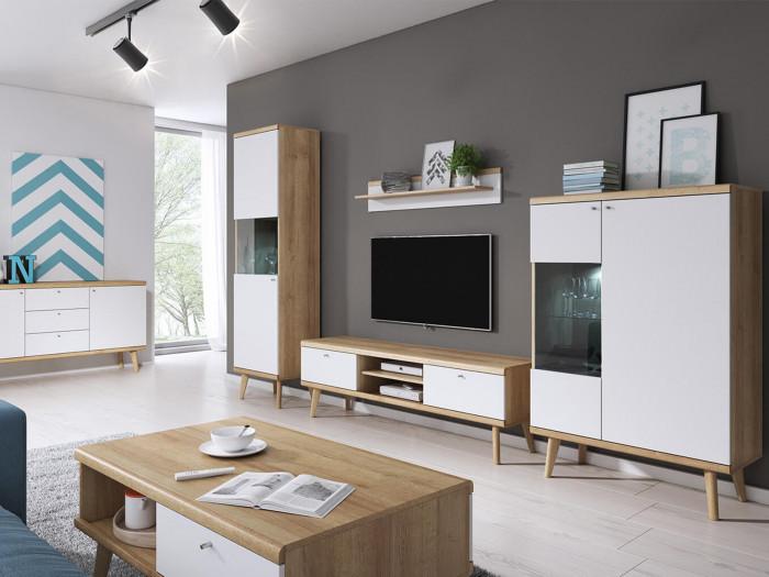Meuble TV 160cm PRIMINO Bois et Blanc