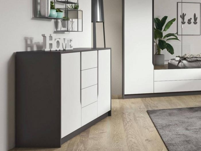 Commode 138 cm SEGAN Blanc et gris