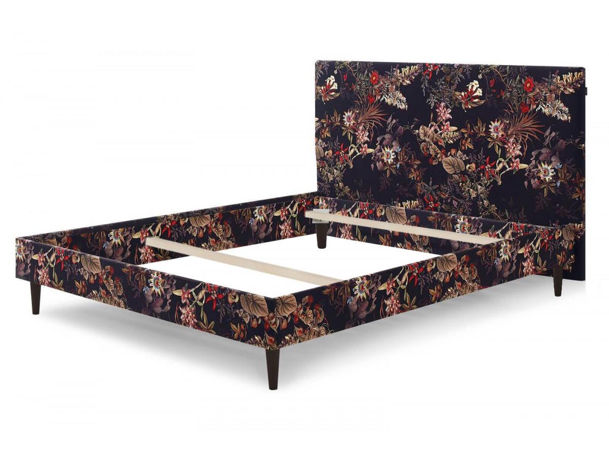 Structure de lit ADELAÏDE avec pieds en bois wengé 180 x 200 cm