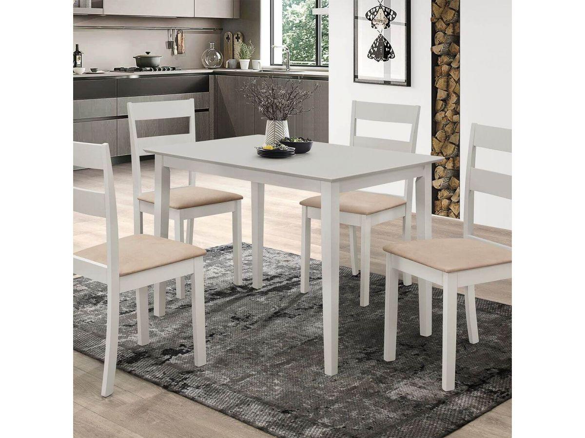 Table 120 cm DALLAS avec 4 chaises Beige