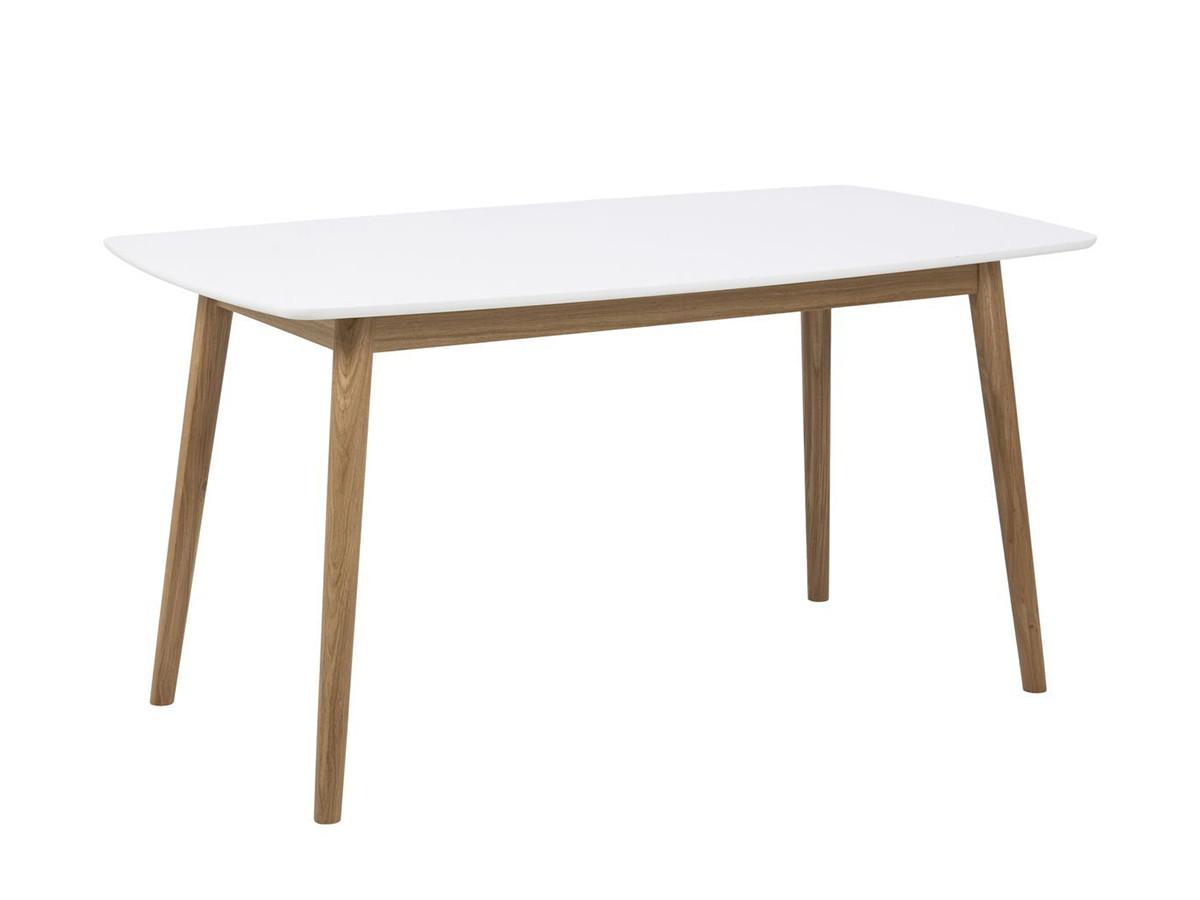 Table à manger 150 cm NAGANE en bois massif blanc laqué