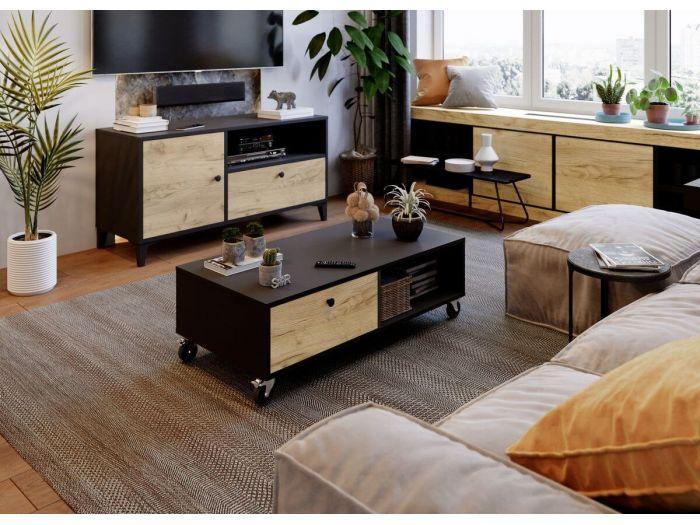 Table basse 110 cm MIAMI chêne rustique et noir