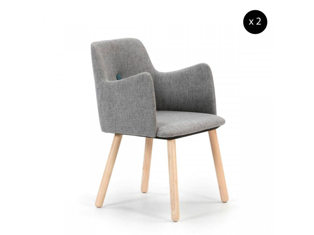 Ensemble de 2 fauteuils KWASI gris