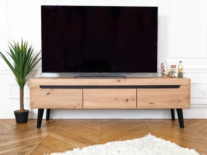 Meuble TV 160 cm NORDI RETRO Chêne et Noir