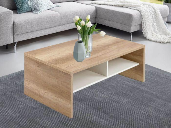 Table basse 105 cm BOLLY Couleur chêne et blanc
