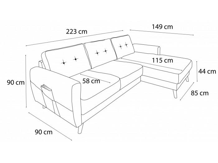 Canapé d'angle Scandi fixe Velours