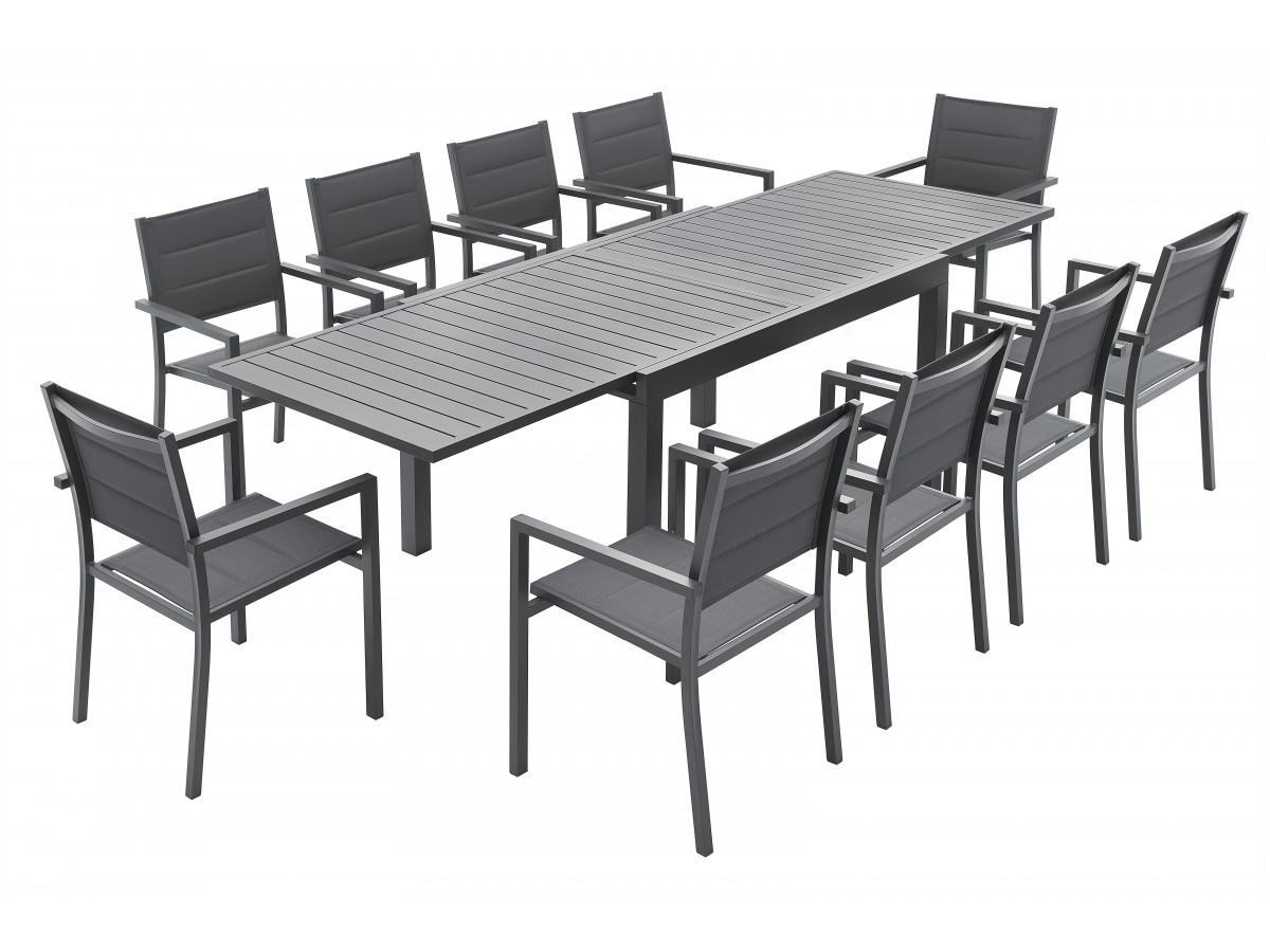 Ensemble table extensible + 10 fauteuils anthracite Cloé