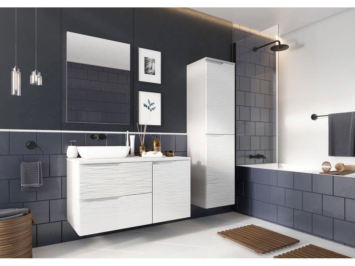 Ensemble de salle de bain 100 cm MARGO avec motif et colonne