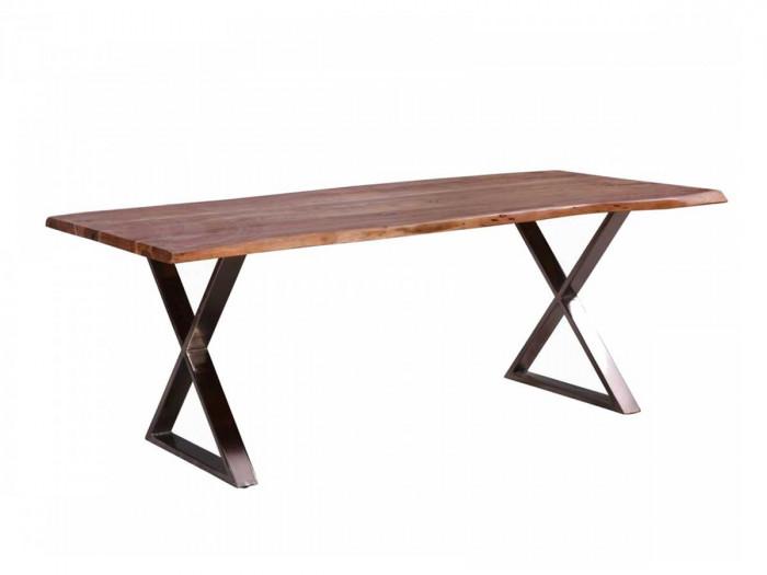 Table 200 cm AWA Bois acacia massif et pieds en croix métal chromé