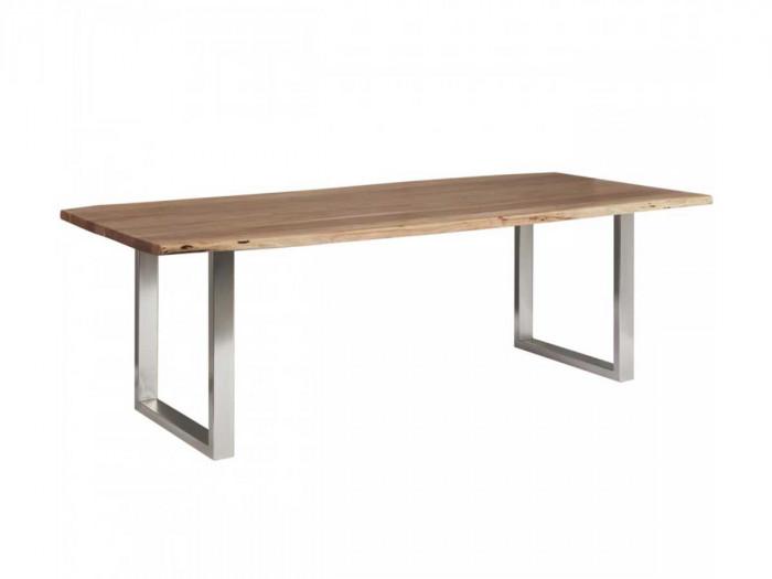 Table 180 cm AWA Bois acacia massif et pieds carrés métal chromé