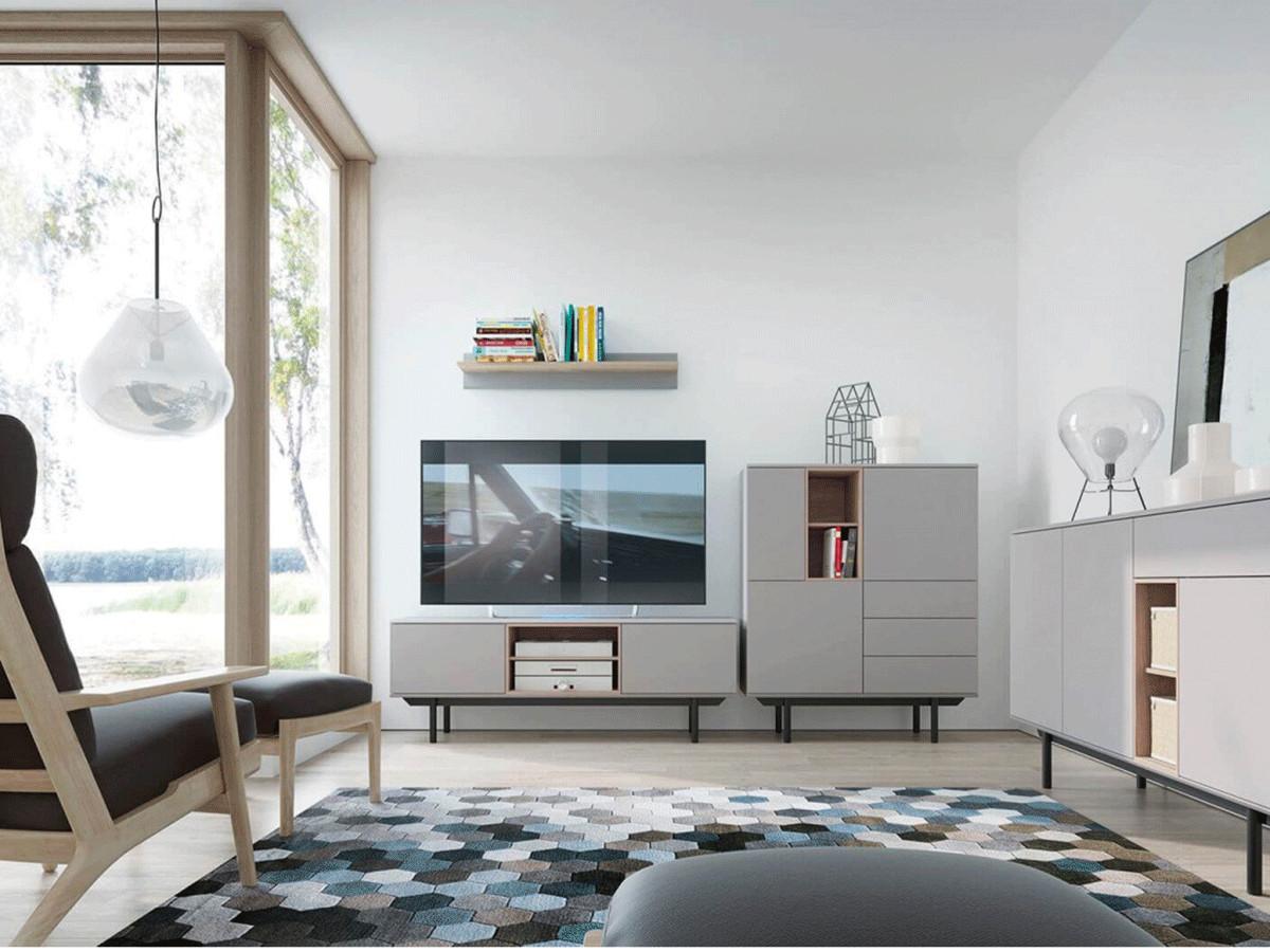 Meuble TV 150 cm INOXI Gris, chêne et noir