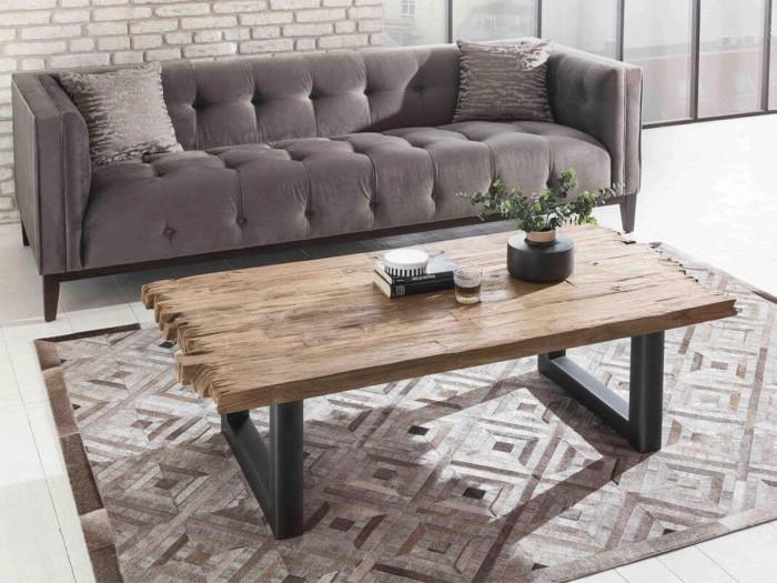 Table basse 130 cm HIPPO teck massif et noir