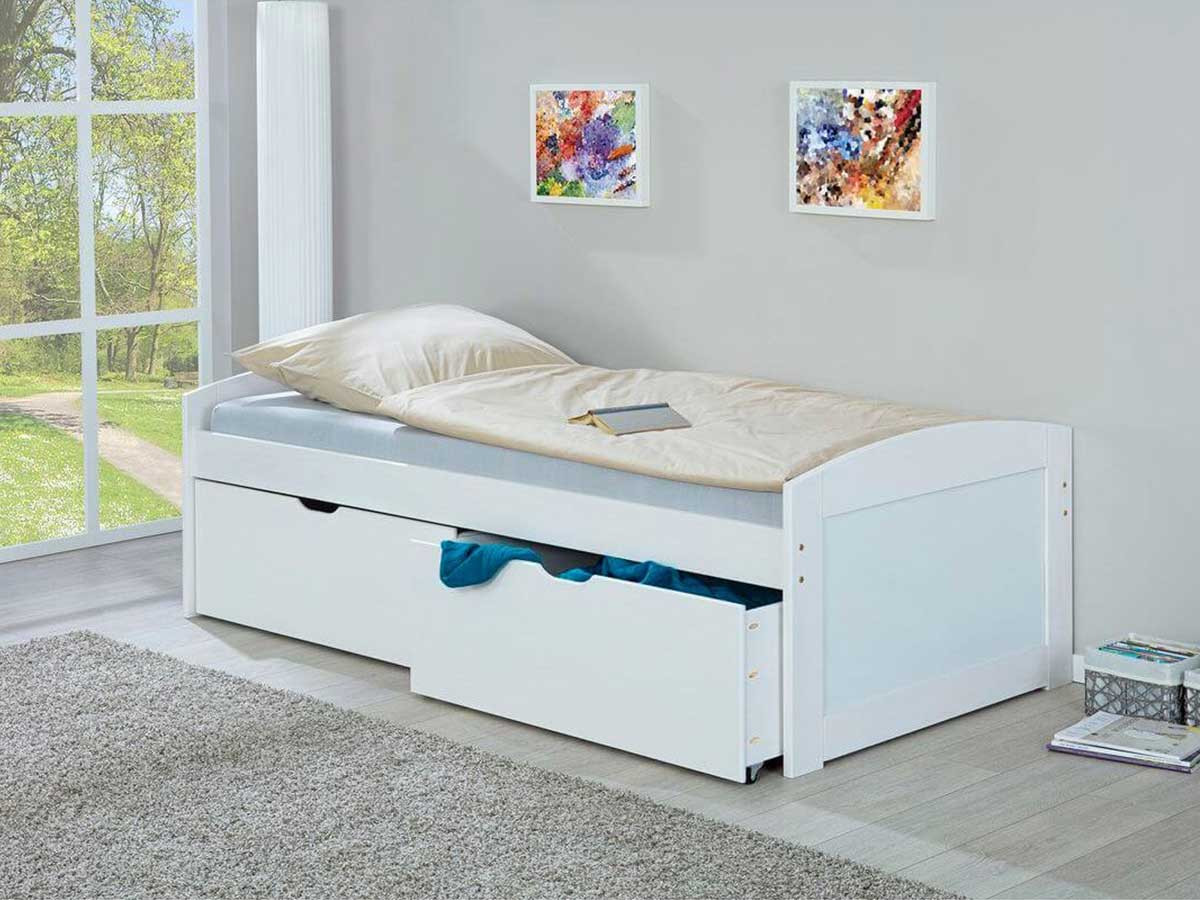 Lit EUGENE 90x200 cm Blanc