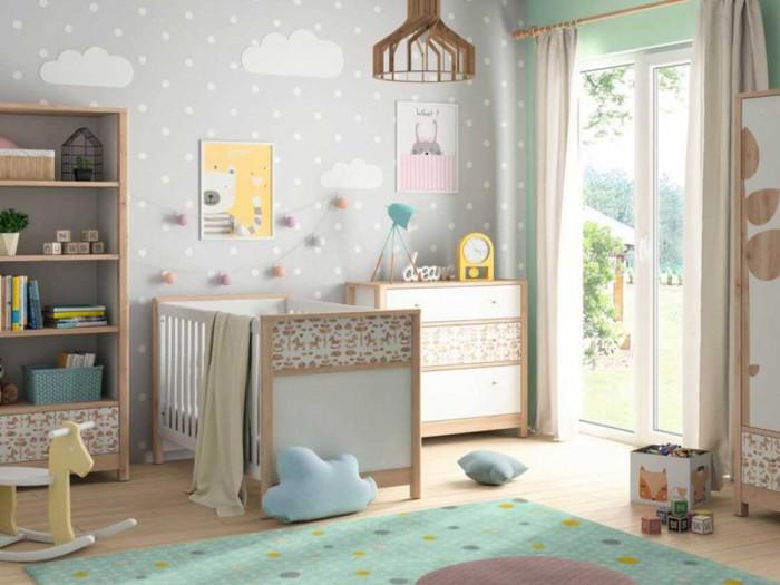 Lit bébé 70x140 ROUBON Bois clair et Blanc