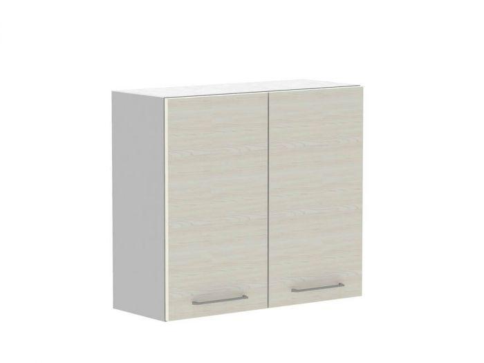Meuble haut 80cm 2 portes KARIO Couleur bois blanchie et gris anthracite brillant