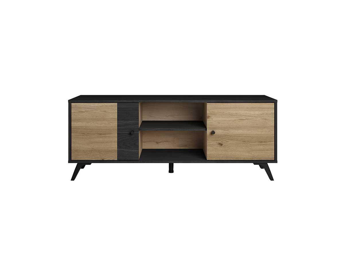 Meuble TV 136 cm ROMY imitation chêne et noir