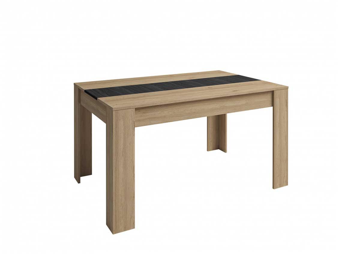 Table 140 cm ROMY imitation chêne et noir
