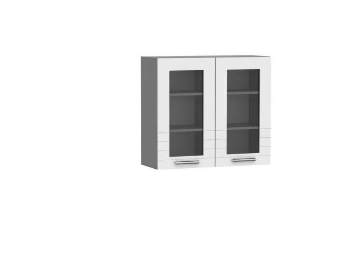 Meuble haut 80 cm avec 2 portes vitrées ORTELIA