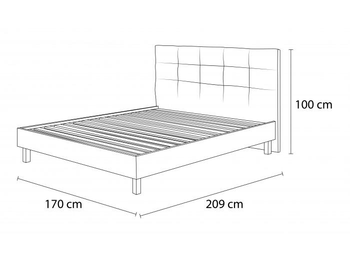 Structure de lit CARRE lattes massives pieds carrés bois wengé 160 x 200 cm