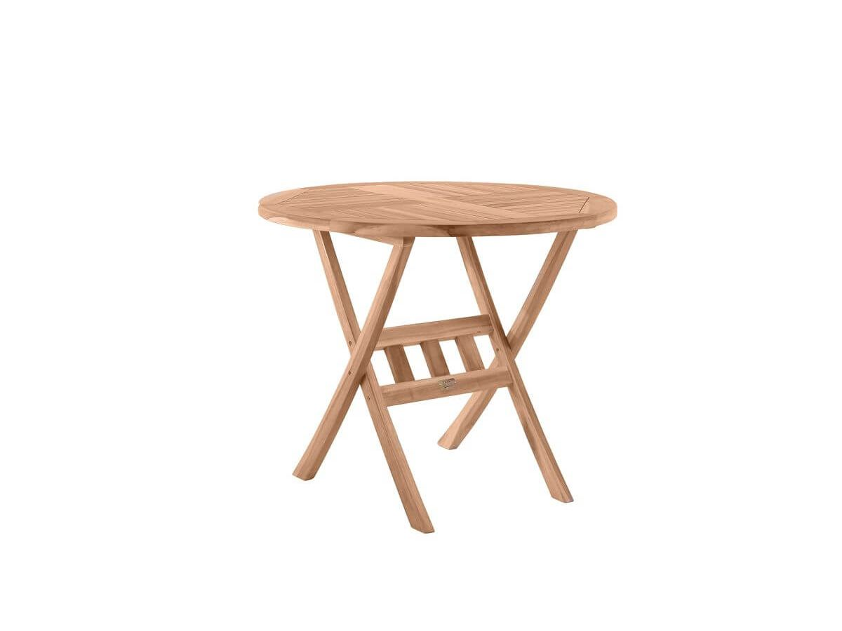 Table de jardin ronde PIRINEAS bois clair naturel