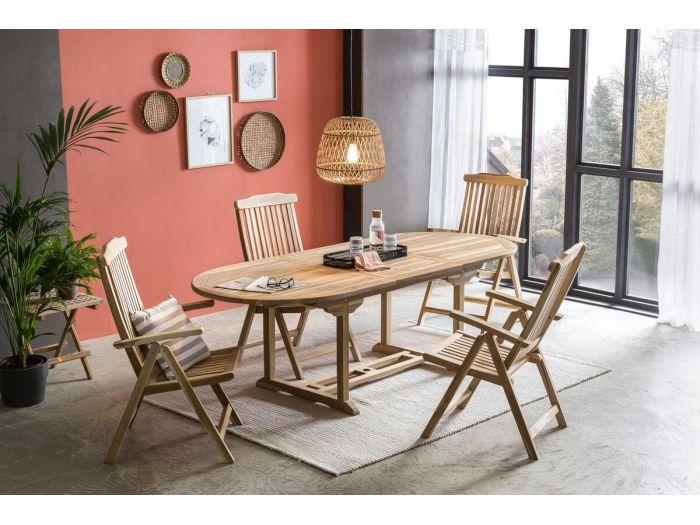 Ensemble table extensible 240 cm + 4 chaises PIRINEAS bois clair naturel