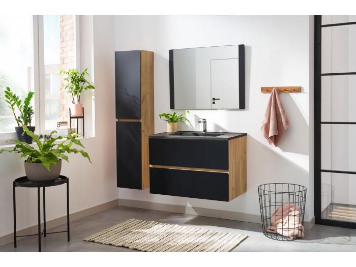 Ensemble salle de bain 80 cm ALANI avec colonne chêne et noir