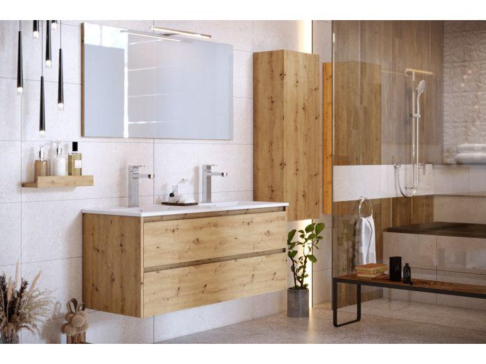 Ensemble de salle de bain 120 cm suspendue avec colonne BAYO chêne clair