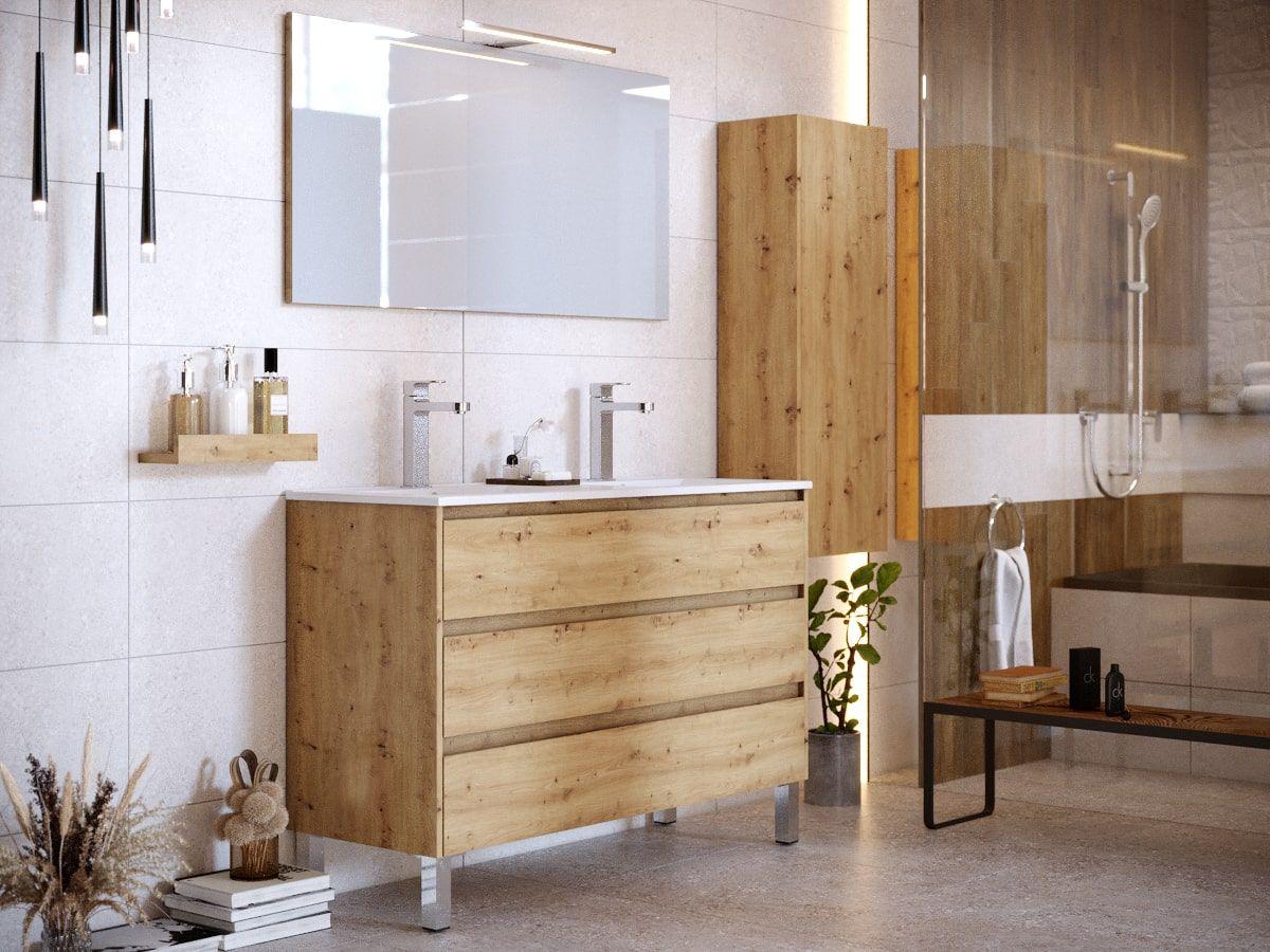 Ensemble de salle de bain 120 cm avec pieds et colonne BAYO chêne clair